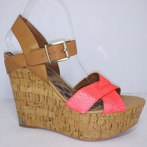 Sam Edelman Coral Crisscross Vamp Cork Sandals S11